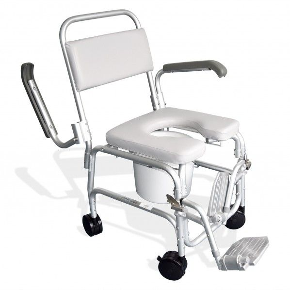 Cadeira de Banho Sanitária com Braços e 4 Rodízios