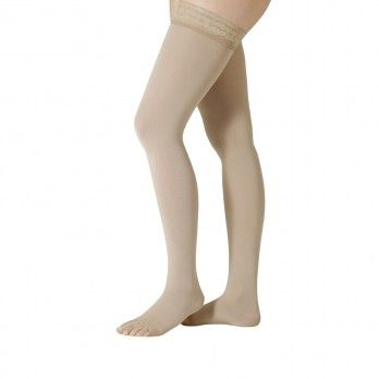 Grade I Thigh Compression Stockings With Lace and Silicone Without Toe Cap Almond III - Juzo® Soft 2t