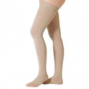 Compression Socks Up to Thigh Grade II Short Silicone Edge and Almond V Design - Juzo® Soft 2002 AGt