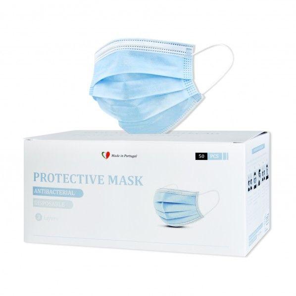 Máscaras de Proteção Facial com Elásticos - 50 unidades