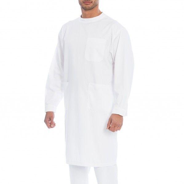 Bata Masculina de Manga Comprida em Sarja Branca com Abertura Traseira