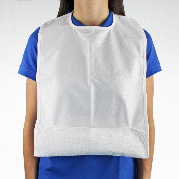Babete para Adulto Impermeável com Bolsa Dobrada - 50 x 40 cm